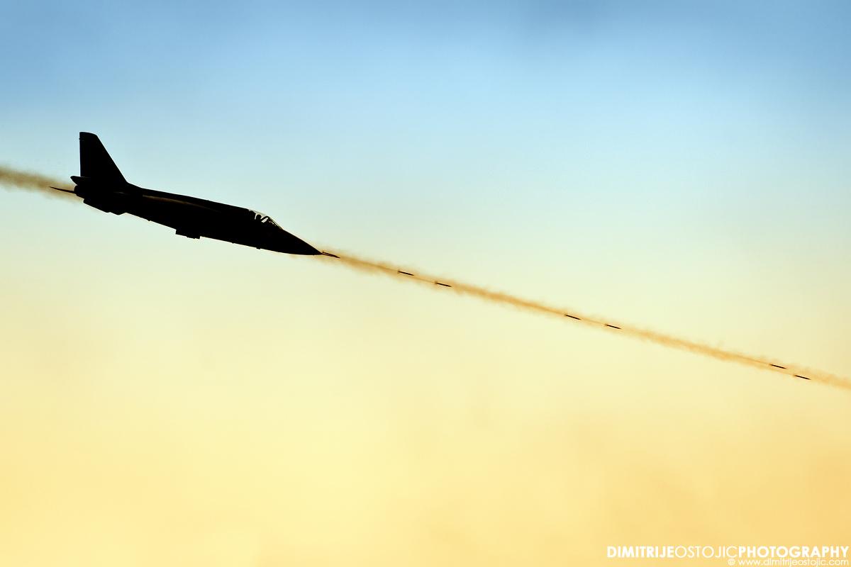 "Soko J-22 Orao firing 23mm cannon shellspohe ""Senke"" squad."